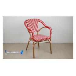 Sillón hosteleria estilo PARISINO , color rojo y blanco