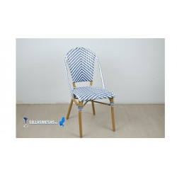 Silla hosteleria PARISINA azul y blanca