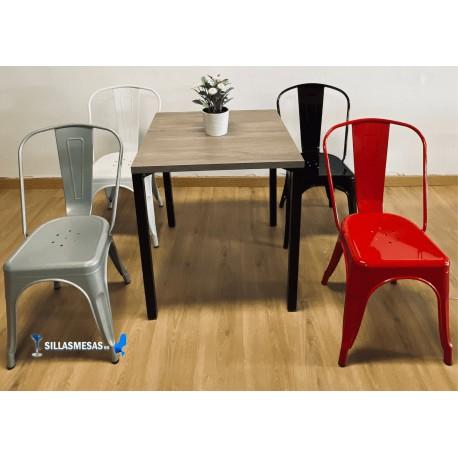 Conjunto 4 sillas TOLIX y 1 mesa SOHO