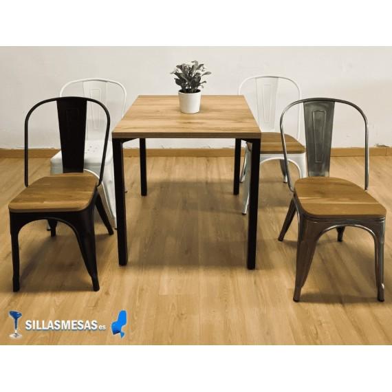 Conjunto 4 sillas TOLIX ASIENTO MADERA  y 1 mesa SOHO