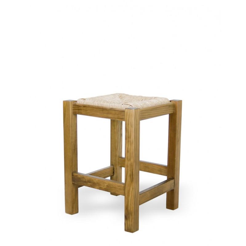 Comprar taburete bajo de madera y enea campo for Taburetes de madera