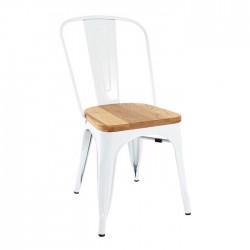 Silla TOLIX blanco con asiento de madera