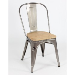 Silla TOLIX metalizada con asiento madera