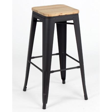 Taburete TOLIX negro mate y asiento madera