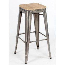 Taburete TOLIX metalizado y asiento madera