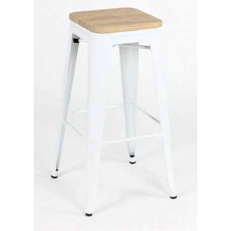 Taburete TOLIX blanco y asiento madera