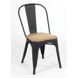 Silla TOLIX negro mate con asiento de madera