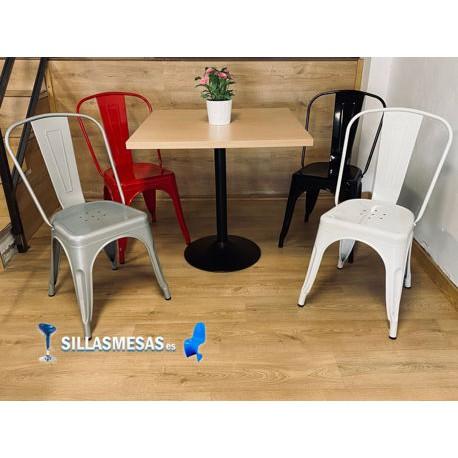 Conjunto 4 sillas TOLIX y 1 mesa F CUADRADA
