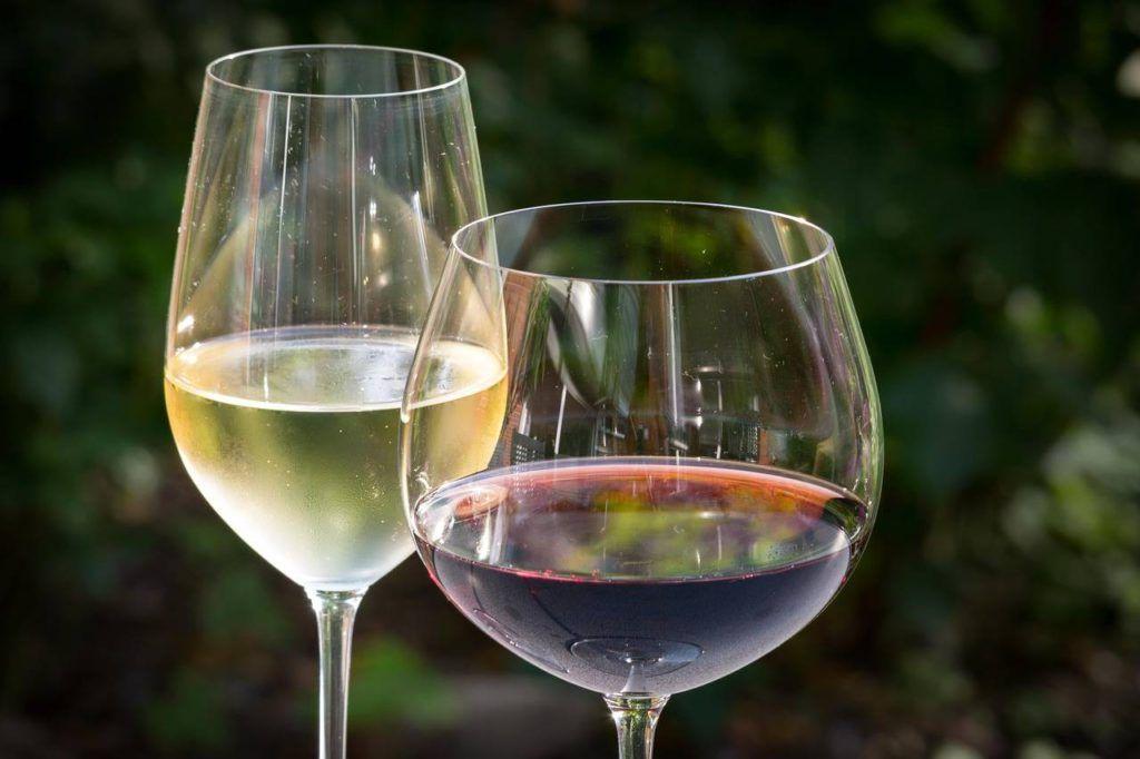 Copas de vino esenciales en la cristalería de un bar