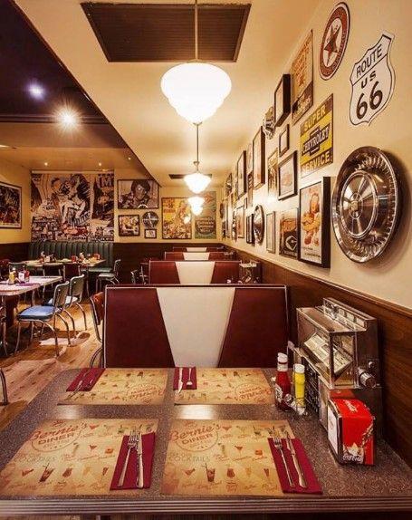 Decoración restaurante estilo americano Bernies Diner