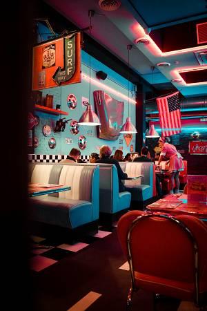 pintar un restaurante en colores azules