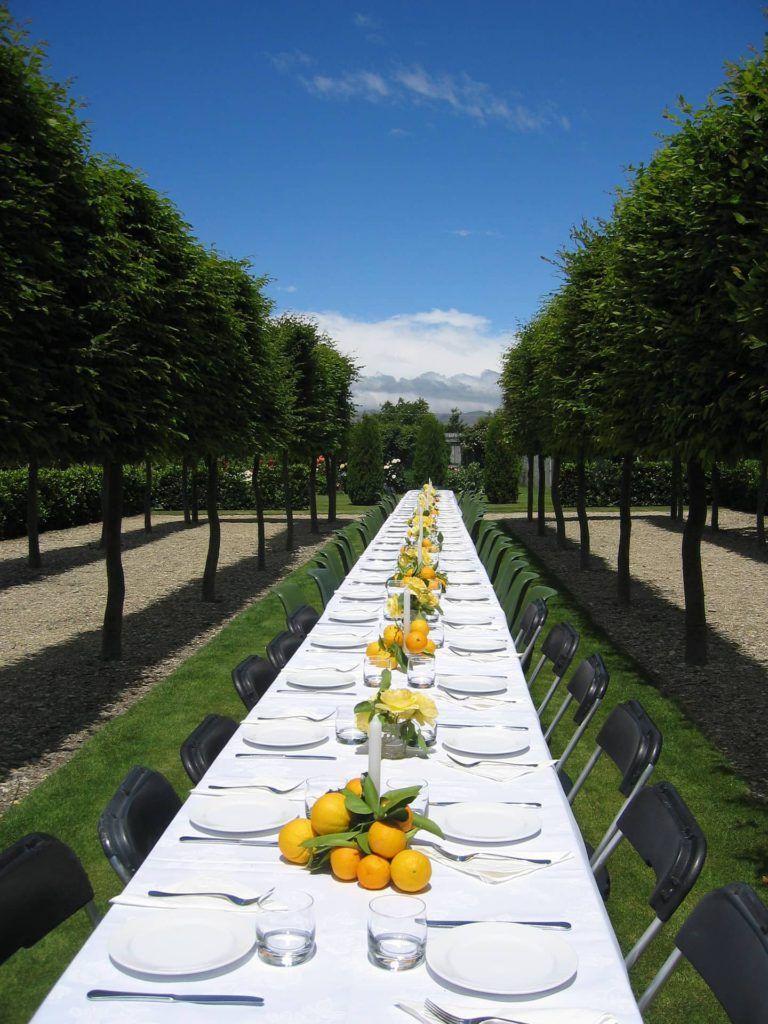 Frutas para decoración de mesas de bodas