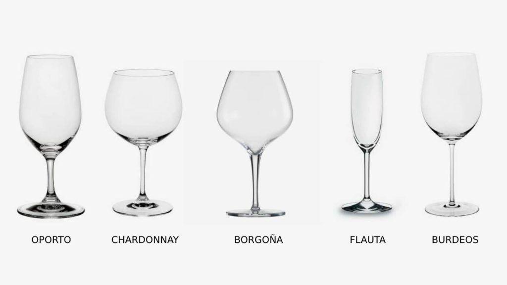 Los principales tipos de copas que se emplean para servir el vino